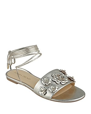 Ivanka Trump Catera Metallic Floral Ankle Wrap Sandals
