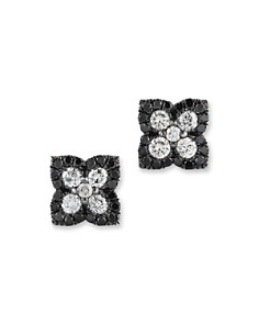 Black and White Diamond Clover Stud Earrings in 14K White Gold - Bloomingdale's_0