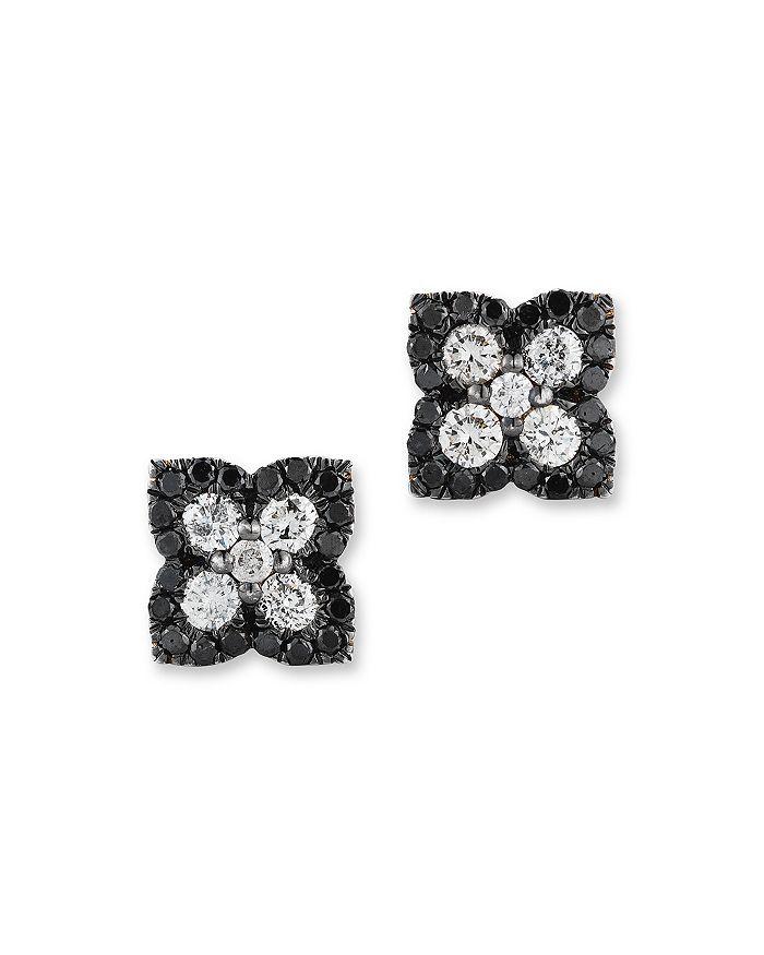 Bloomingdale's - Black and White Diamond Clover Stud Earrings in 14K White Gold