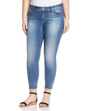 Slink Jeans Frayed Hem Skinny Ankle Jeans in Medium