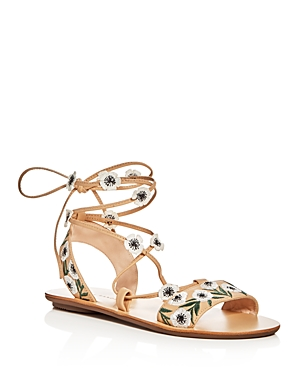 Loeffler Randall Fleura Emboidered Lace Up Sandals