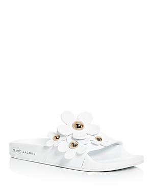 marc jacobs female marc jacobs daisy aqua embellished pool slide sandals