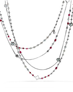 David Yurman - Oceanica Two-Row Chain Necklace with Gray Dyed Cultured Freshwater Pearls, Hematine and Rhodolite Garnet