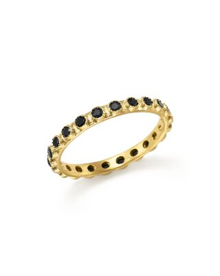 18K Yellow Gold Sueno Black Sapphire Stacking Ring