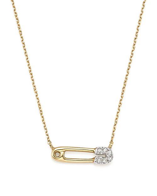 """Adina Reyter - 14K Yellow Gold Pavé Diamond Safety Pin Necklace, 15"""""""