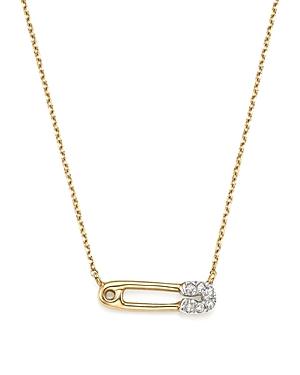 Adina Reyter 14K Yellow Gold Pave Diamond Safety Pin Necklace, 15