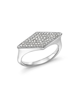 Adina Reyter Sterling Silver Pave Diamond Stretched Diamond Signet Ring