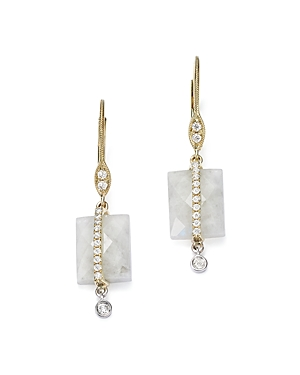 Meira T 14K White and Yellow Gold Rainbow Moonstone and Diamond Square Drop Earrings-Jewelry & Accessories