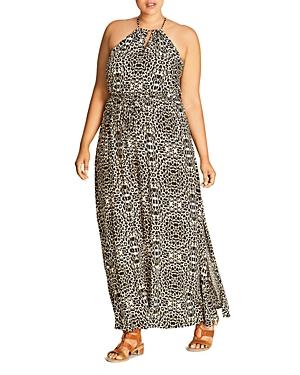 City Chic Abstract Animal Print Maxi Dress