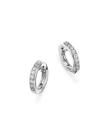 Bloomingdale's - Diamond Mini Hoop Earrings in 14K White Gold, .15 ct. t.w. - 100% Exclusive
