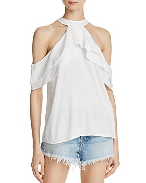 Band of Gypsies Ruffle Cold-Shoulder Top-rtv