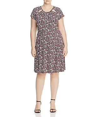 Michael Michael Kors Plus Brooks Floral Print Cutout Dress