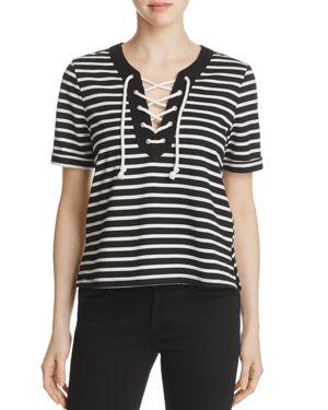 Finn & Grace Stripe Lace-Up Top - 100% Exclusive