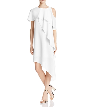 Adrianna Papell Cold-Shoulder Ruffle Dress