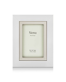 """Siena - White Finish with Silver Frame, 4"""" x 6"""""""