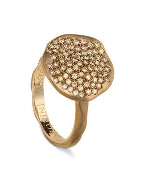 Antonini 18K Rose Gold Round Anniversary Pave Champagne Diamond Ring
