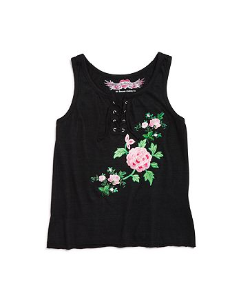 So Nikki... - Girls' Embroidered Roses Lace-Up Tank - Big Kid