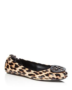 Tory Burch Minnie Leopard Print Patent Leather Travel Ballet Flats
