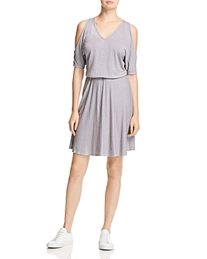 Three Dots Cold Shoulder Stripe Dress