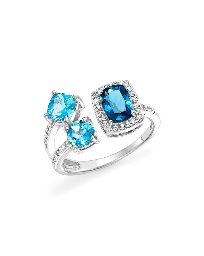 Bloomingdale's - London Blue and Swiss Blue Topaz Open Pavé Diamond Ring in 14K White Gold - 100% Exclusive
