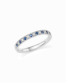 Bloomingdale's - Blue Sapphire and Diamond Beaded Band in 14K White Gold - 100% Exclusive