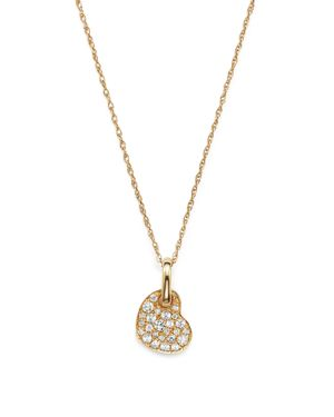 Diamond Micro Pave Heart Pendant Necklace in 14K Yellow Gold, .15 ct. t.w. - 100% Exclusive