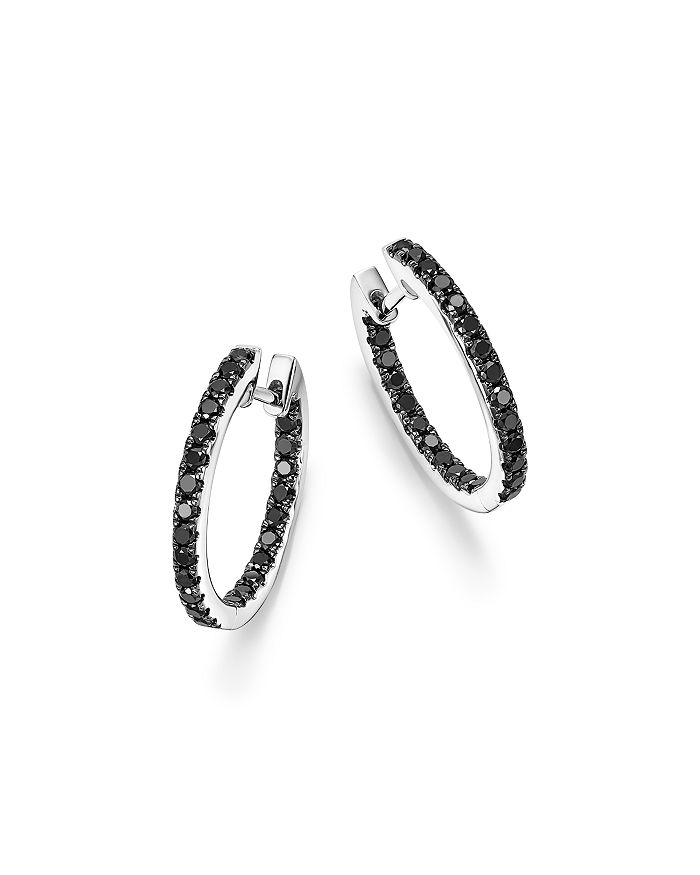 Bloomingdale's - Black Diamond Inside Out Medium Hoop Earrings in 14K Gold - 100% Exclusive