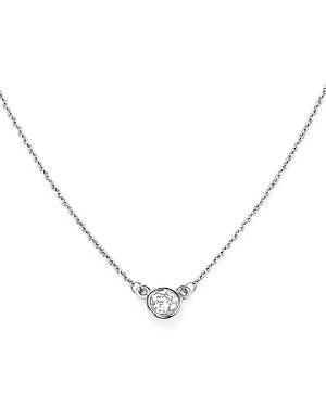 Diamond Bezel Set Pendant Necklace in 14K White Gold, .15 ct. t.w. - 100% Exclusive