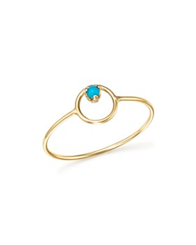 Zoë Chicco - 14K Yellow Gold Turquoise Circle Ring