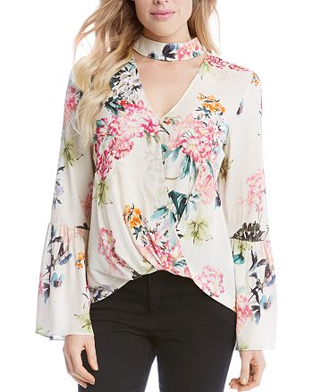 Karen Kane - Mock Neck Wrap Top - 100% Exclusive