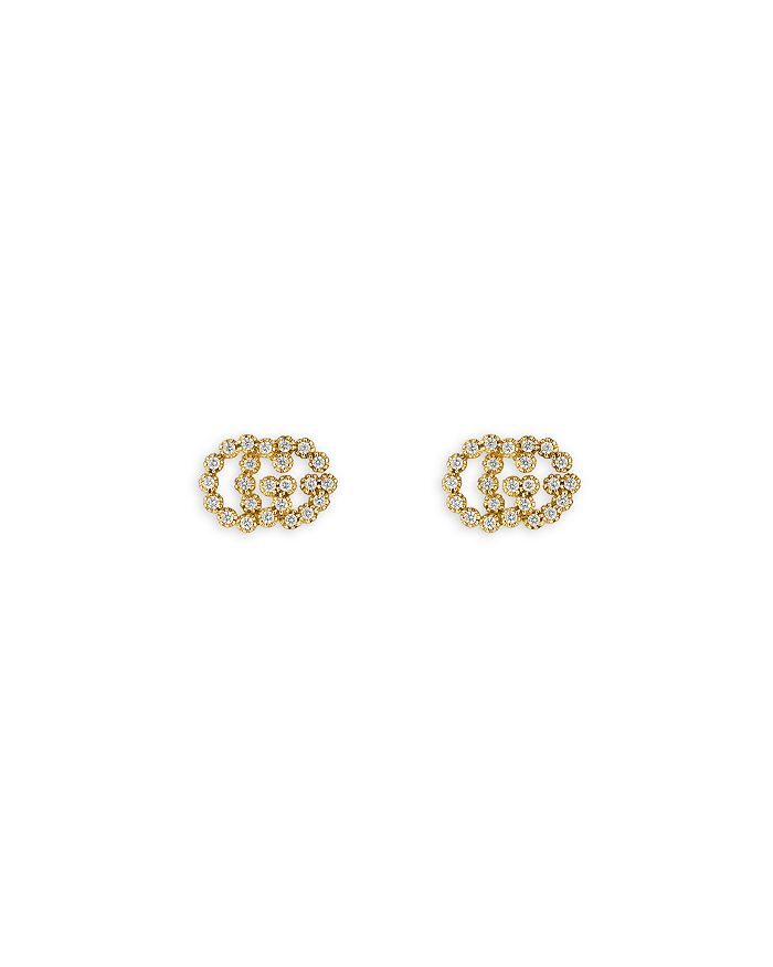 f737fff488b Gucci - 18K Yellow Gold Running G Diamond Stud Earrings
