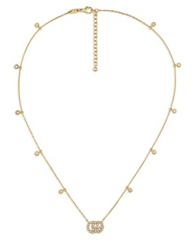 Gucci - 18K Yellow Gold Running G Diamond Pendant Necklace, 14.5""