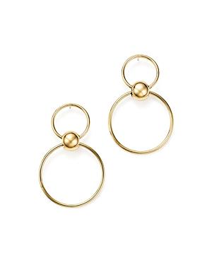 14K Yellow Gold Beaded Double Hoop Drop Earrings - 100% Exclusive