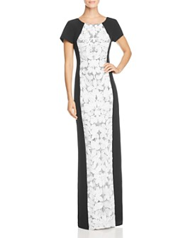 JS Collections - Color-Block Lace-Front Gown