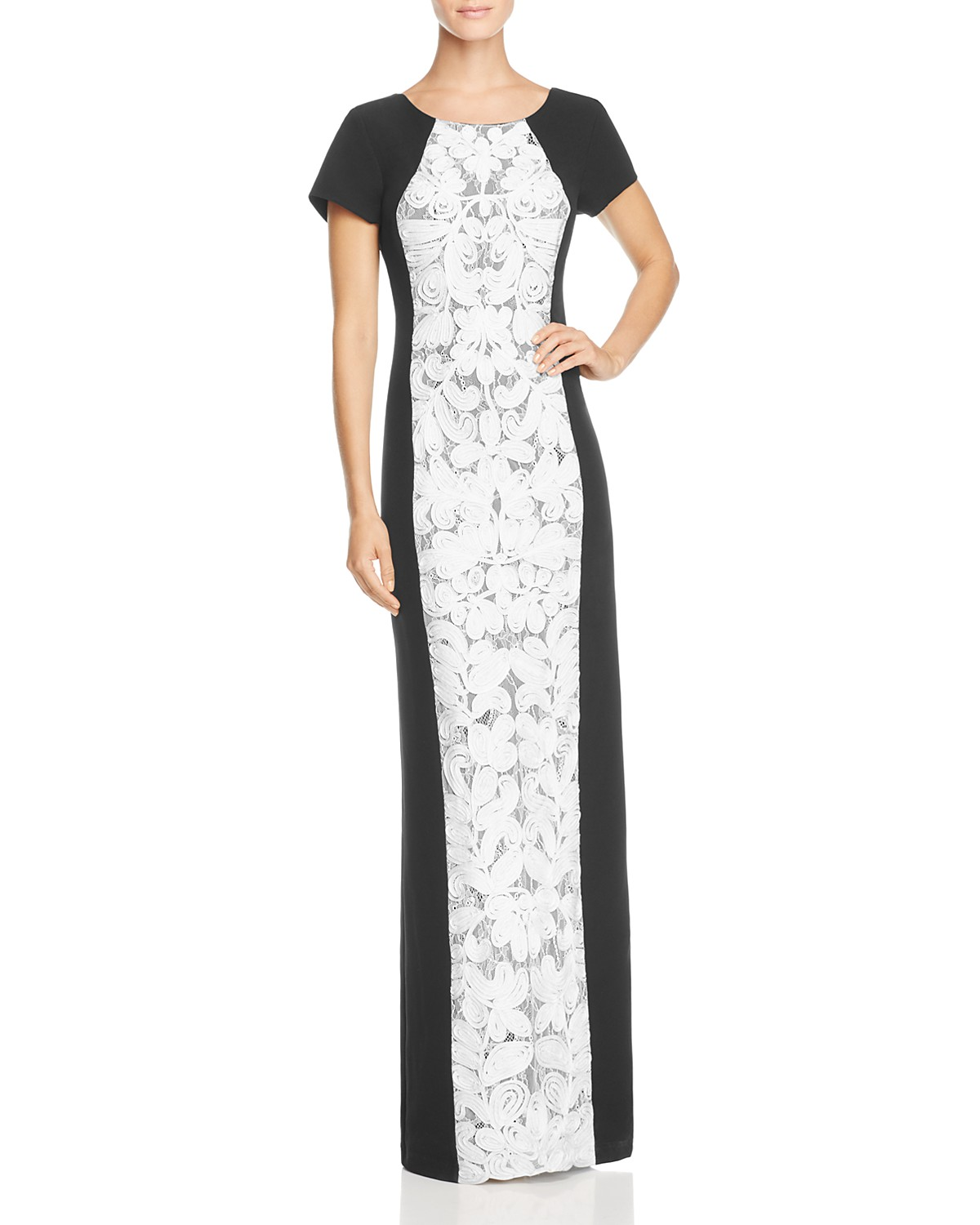 JS Collections Color-Block Lace-Front Gown   Bloomingdale\'s