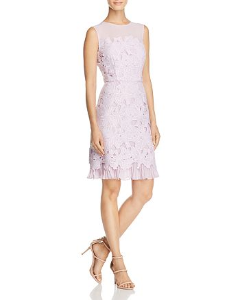 Adrianna Papell - Ruffle-Hem Lace Dress