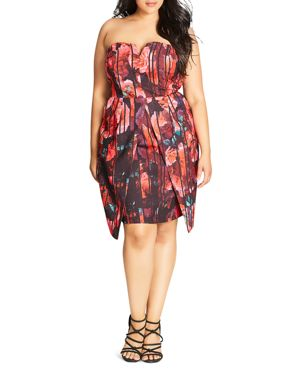 City Chic Party Print Strapless Dress