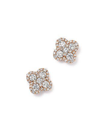 Bloomingdale's - Diamond Clover Stud Earrings in 14K Rose Gold, 1.0 ct. t.w. - 100% Exclusive