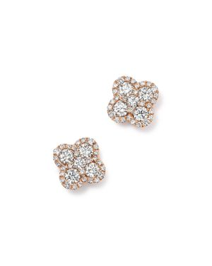 Diamond Clover Stud Earrings in 14K Rose Gold, 1.0 ct. t.w. - 100% Exclusive