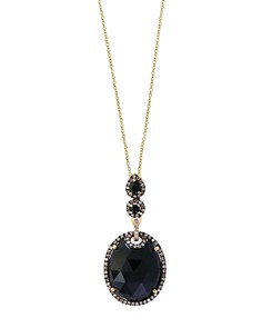 """Black Onyx, Brown Diamond and White Diamond Halo Pendant Necklace in 14K Yellow Gold, 18"""" - 100% Exclusive - Bloomingdale's_0"""