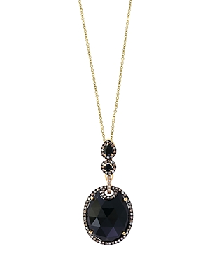 Black Onyx, Brown Diamond and White Diamond Halo Pendant Necklace in 14K Yellow Gold, 18 - 100% Excl