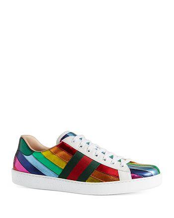 f47fdddde54 Gucci - Men s Ace Metallic Leather Rainbow Sneakers