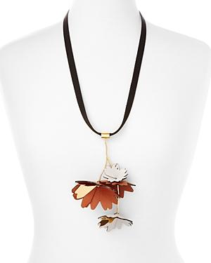 Marni Leather Flower Pendant Necklace, 44