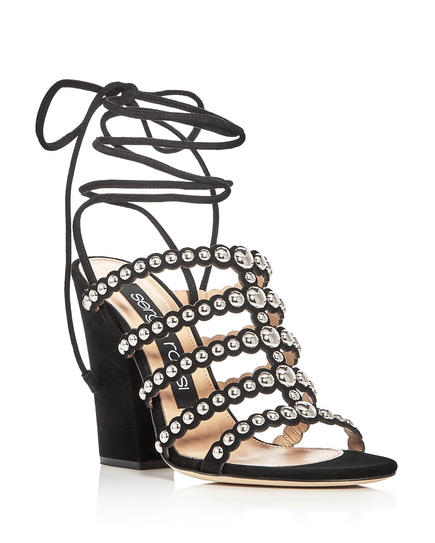 Sergio Rossi Elettra Studded Ankle Tie Block Heel Sandals RhRUYYwZz