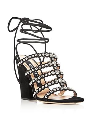 Sergio Rossi Elettra Studded Ankle Tie Block Heel Sandals
