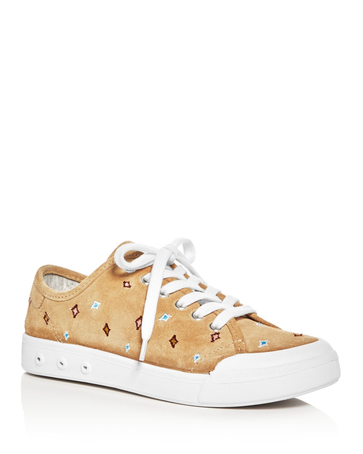 RAG&BONE Women's Standard Issue Suede Embroidered Lace Up Sneakers