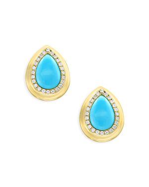 Turquoise and Diamond Halo Teardrop Stud Earrings in 14K Yellow Gold - 100% Exclusive