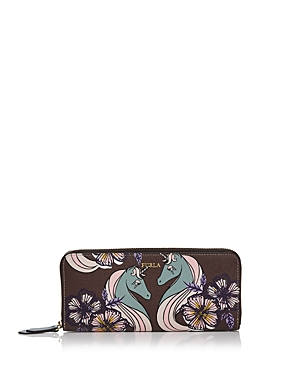Furla Gioia Zip Around Printed Extra Large Leather Wallet