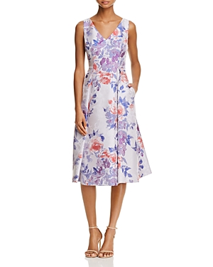 Adrianna Papell Sleeveless Floral Jacquard Dress