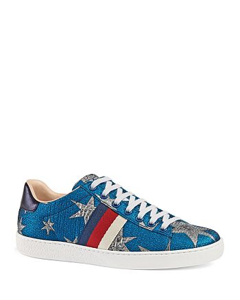Gucci - Women's Ace Embroidered Low Top Lace Up Sneakers